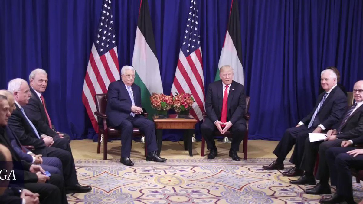 Honored to meet w/ Pres Abbas from the Palestinian Authority & his delegation, who have been working hard w/everybody involved toward peace.