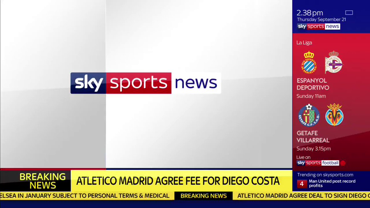 WATCH: @Atleti agree deal to sign Diego Costa from @ChelseaFC in Janua...