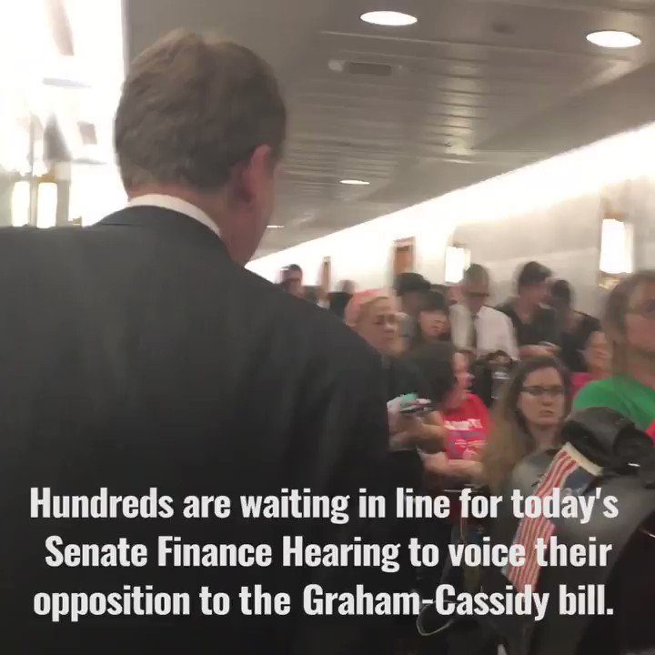 Just met hundreds in line to attend @senatefinance #GrahamCassidy hearing. Thank you for coming. We are listening. https://t.co/hX2thMLhTH