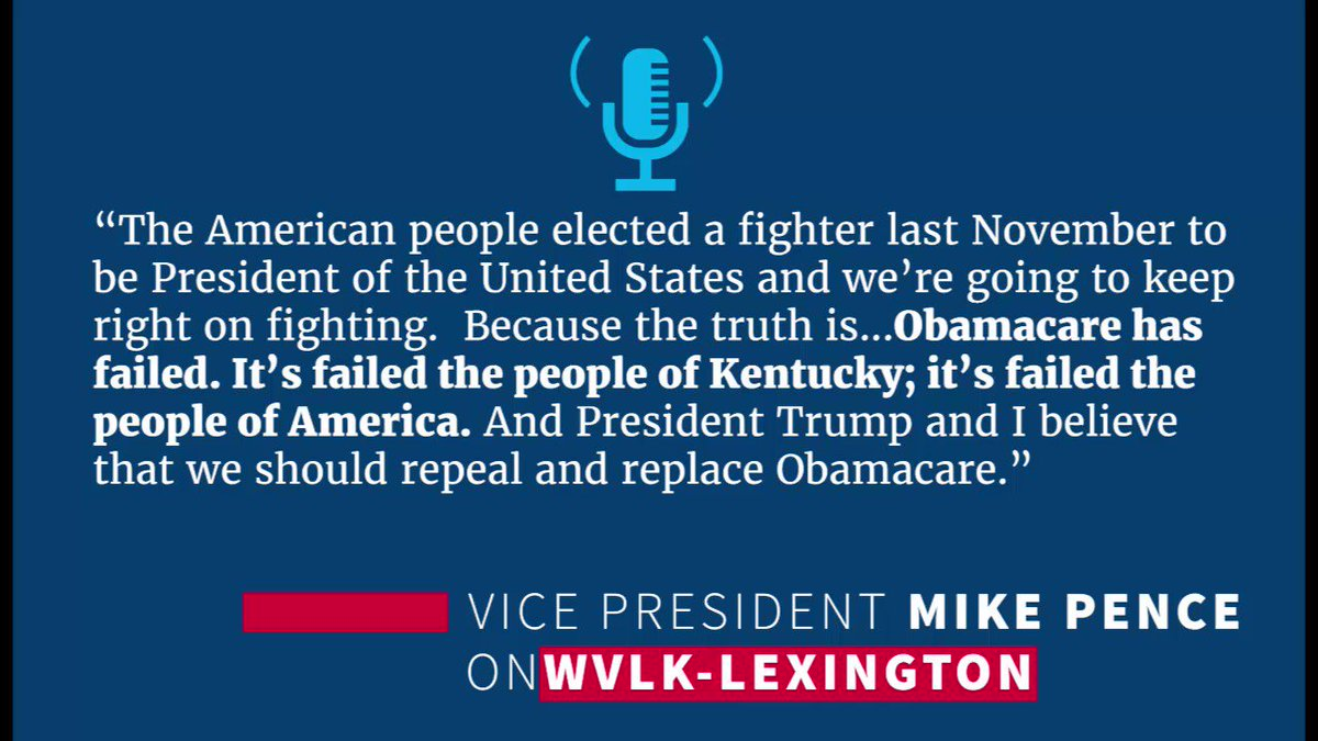 Told @WVLK in Kentucky about how Obamacare has failed. It's failed the people of Kentucky; it's failed the people of America.