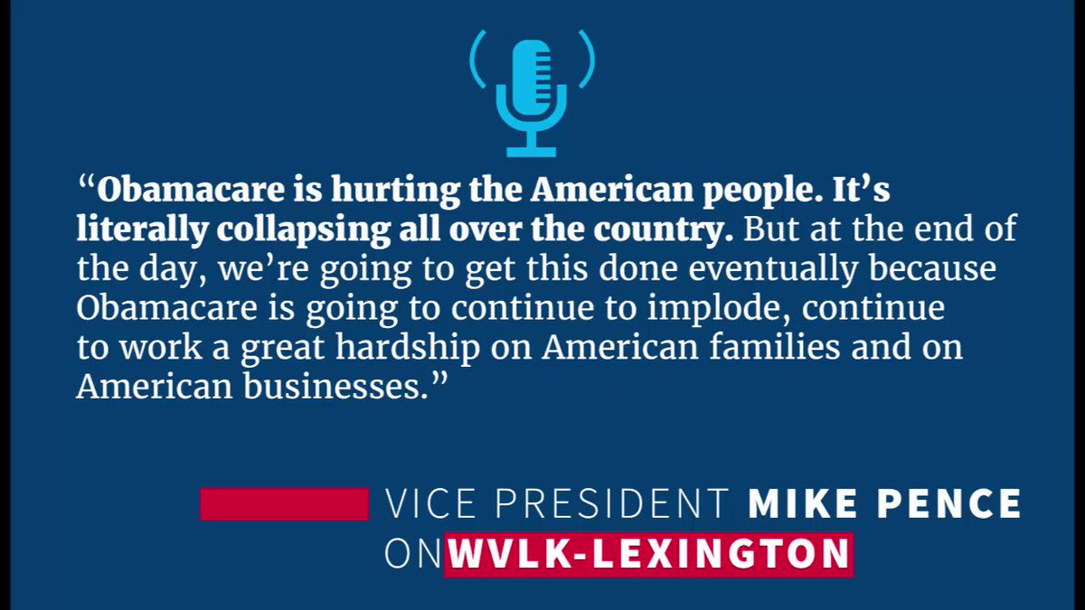 Obamacare will continue to implode & be a hardship on families. @POTUS & I are determined to give U.S people a fresh start on healthcare