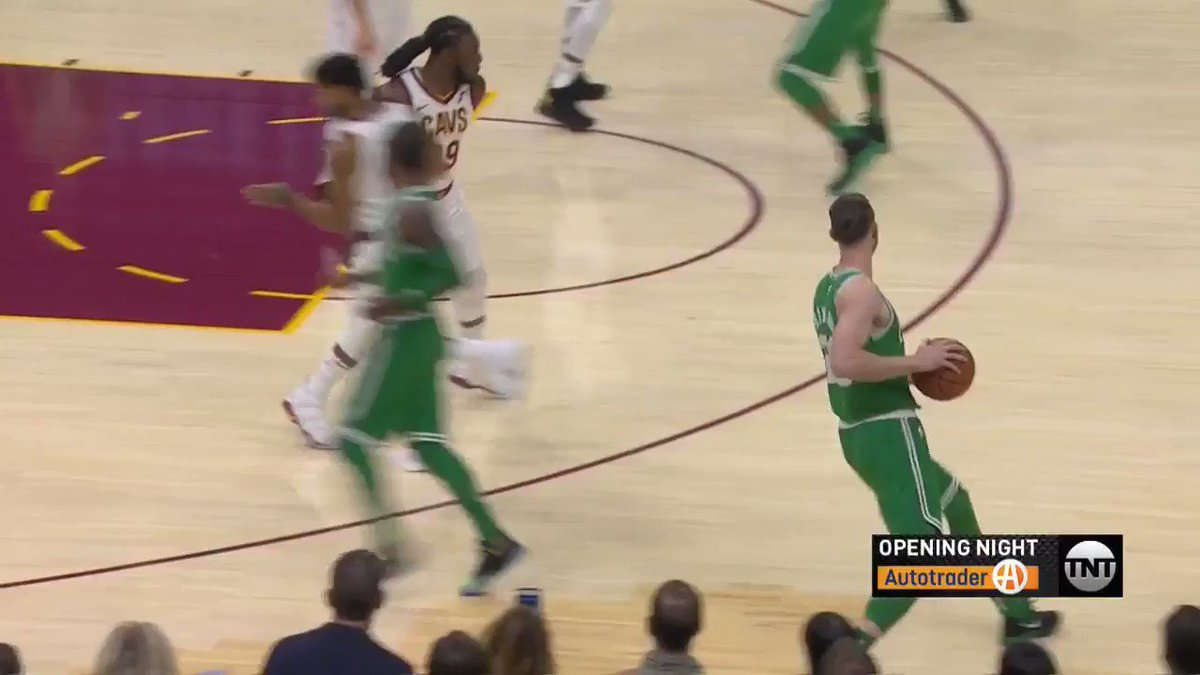 Kyrie Irving puts in his first points for the @celtics and the first b...