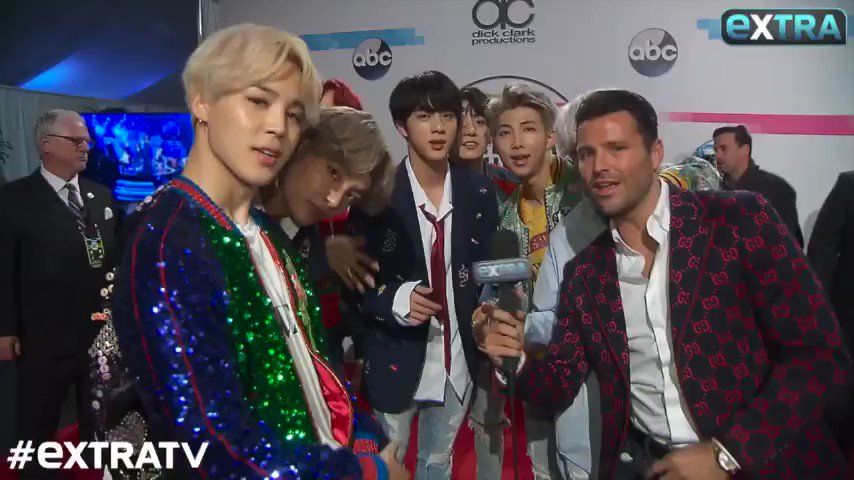 Backstage with @BTS_twt moments after their epic #AMAs performance! Full video here: https://t.co/DQ5GmuZdM9 https://t.co/MsSPOlTkvP