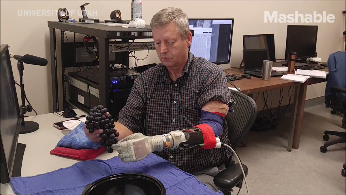 An amputee can feel the grapes he picks using a robotic hand