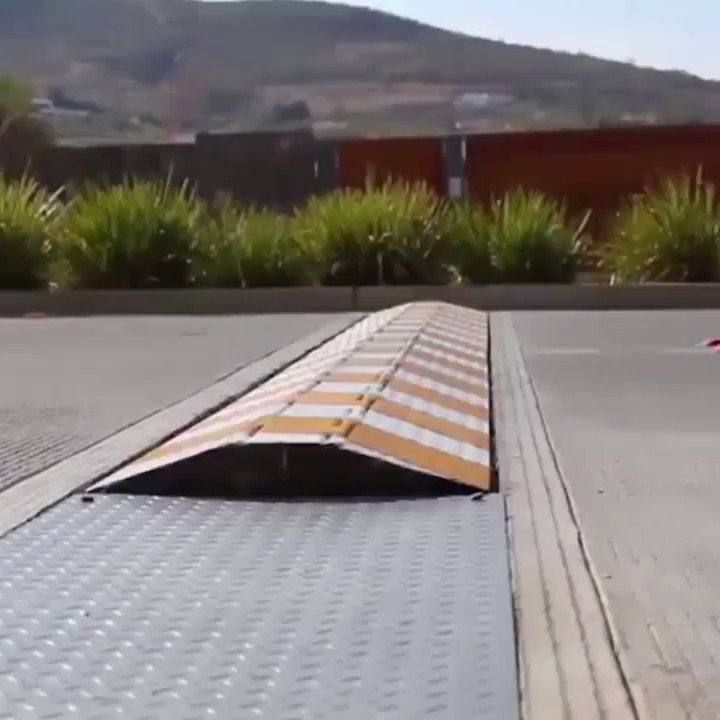 These speed bumps retract into the road....