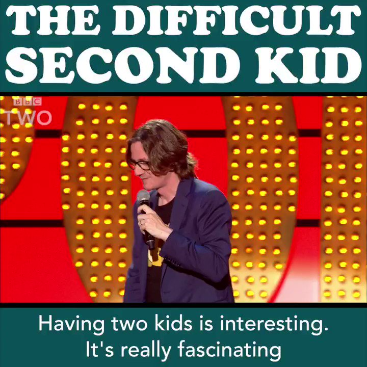 You have the first kid, and it's great. But the second... 😂  @MrEdByrne #LiveAtTheApollo