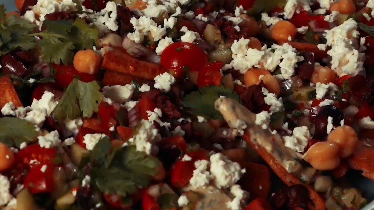 Try these tasty Mediterranean Nachos for a Sunday Funday snack! #TheChew