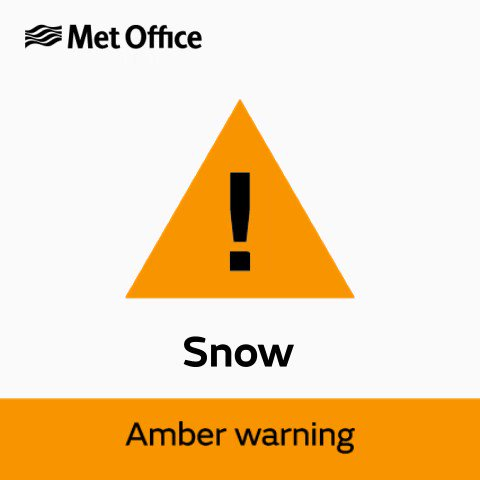 If you're in the amber warning area take extra care if making essential travel. Check our tips for driving in snow and ice  and stay #WeatherAware