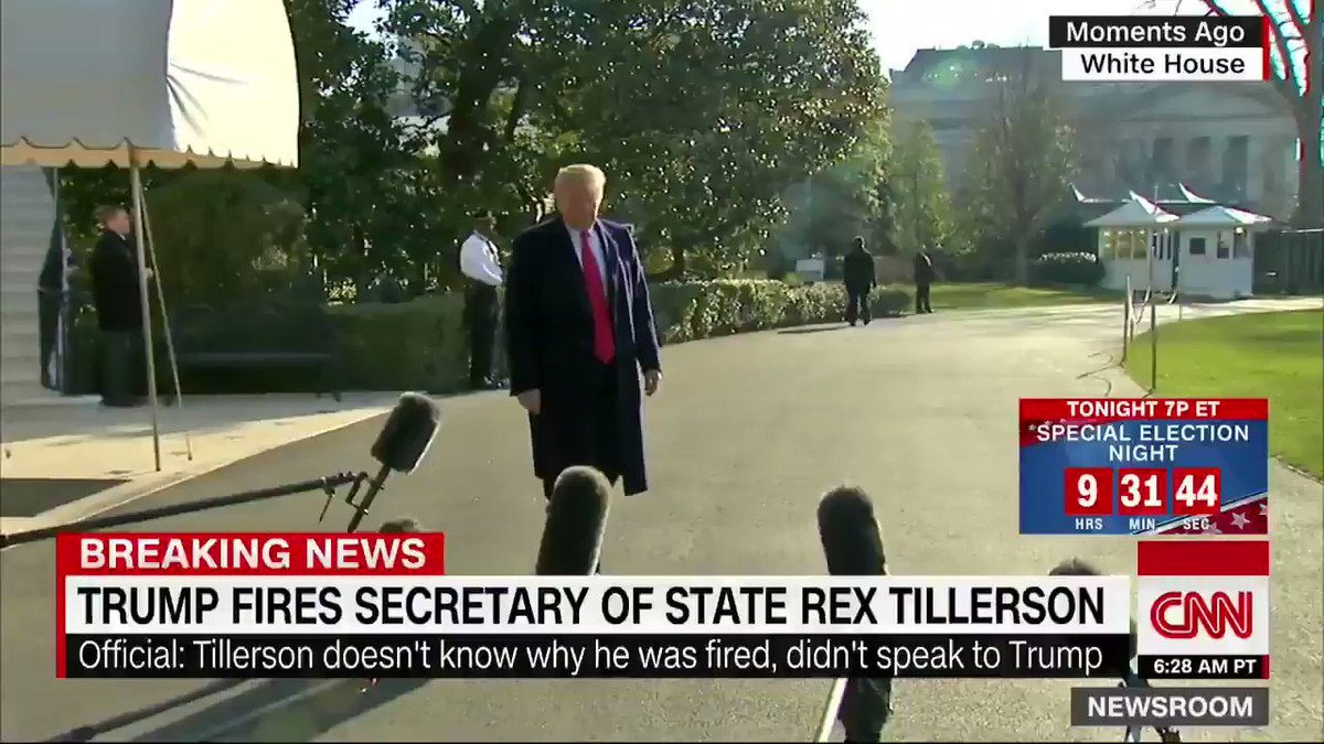 """President Trump: """"I wish Rex Tillerson well… I very much appreciate his commitment and his service and I wish him well. He's a good man… We got along actually quite well but we disagreed on things."""" cnn.it/2GlZx61"""