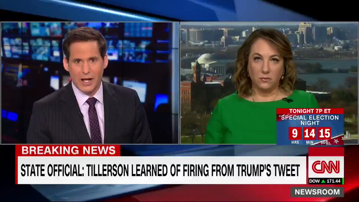 Rex Tillerson found out he was fired by President Trumps tweet on Tuesday morning, according to Steve Goldstein, undersecretary for public diplomacy cnn.it/2GlZx61