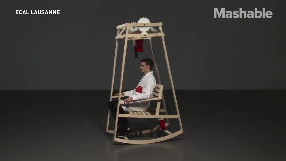 This rocking chair knits you a hat as you sway back and forth