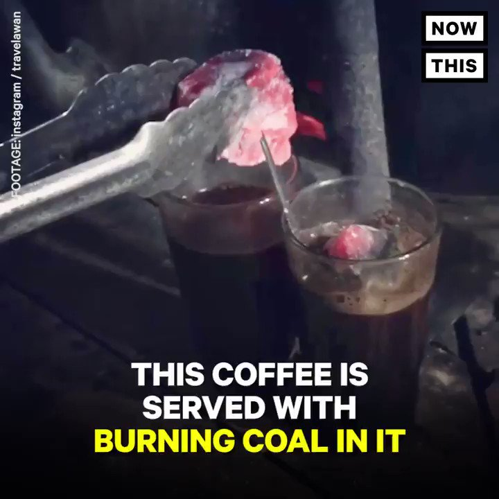 This coffee is served with burning coal