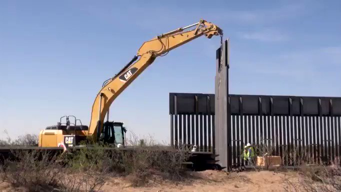 Footage of new wall being build in New Mexico along southern border (this 20 mile section is now finished)  #maga #buildthewall
