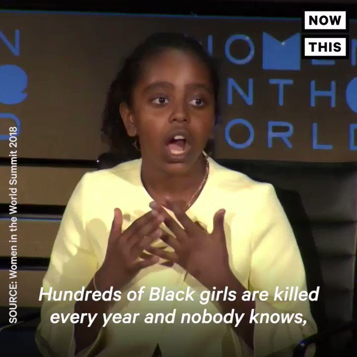 RT @nowthisnews 'Hundreds of Black girls are killed every year and nobody knows, nobody pays attention.' — Everyone needs to hear 11-year-old Naomi Wadler's powerful message about Black women in the U.S.