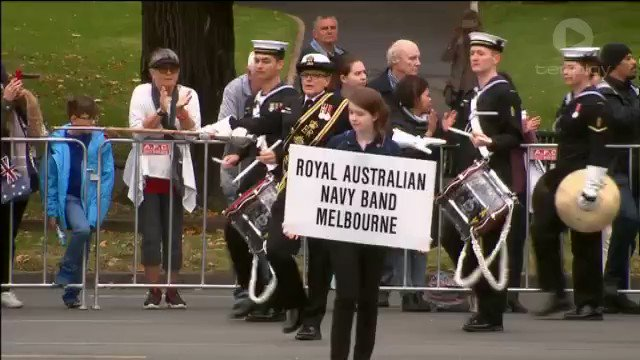 Image for the Tweet beginning: WATCH: #AnzacDay march underway in