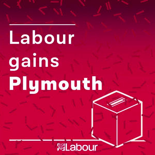 Labour gain: Plymouth. Congratulations @PlymouthLabour! https://t.co/RkPfLblxde