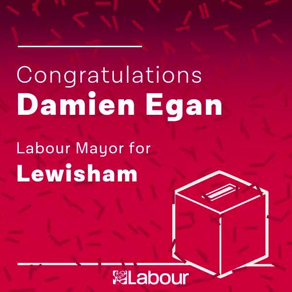 Congratulations Damien Egan, Labour Mayor for Lewisham! https://t.co/u5TGoF7IQA