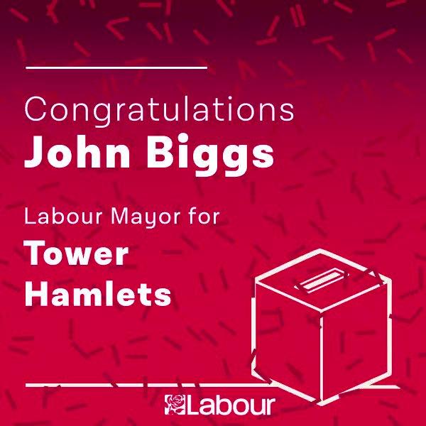 Congratulations John Biggs, Labour Mayor for Tower Hamlets! https://t.co/gysClSux87