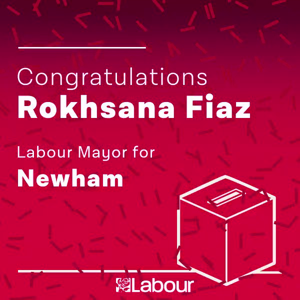 Congratulations to @rokhsanafiaz, Labour Mayor for Newham! https://t.co/AMXStn09R0