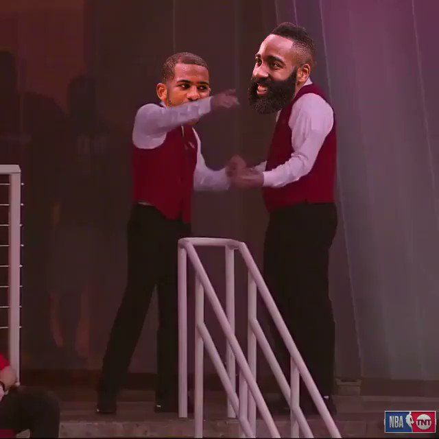 .@CP3 & @JHarden13 heading to The Bay like... 🕺😂