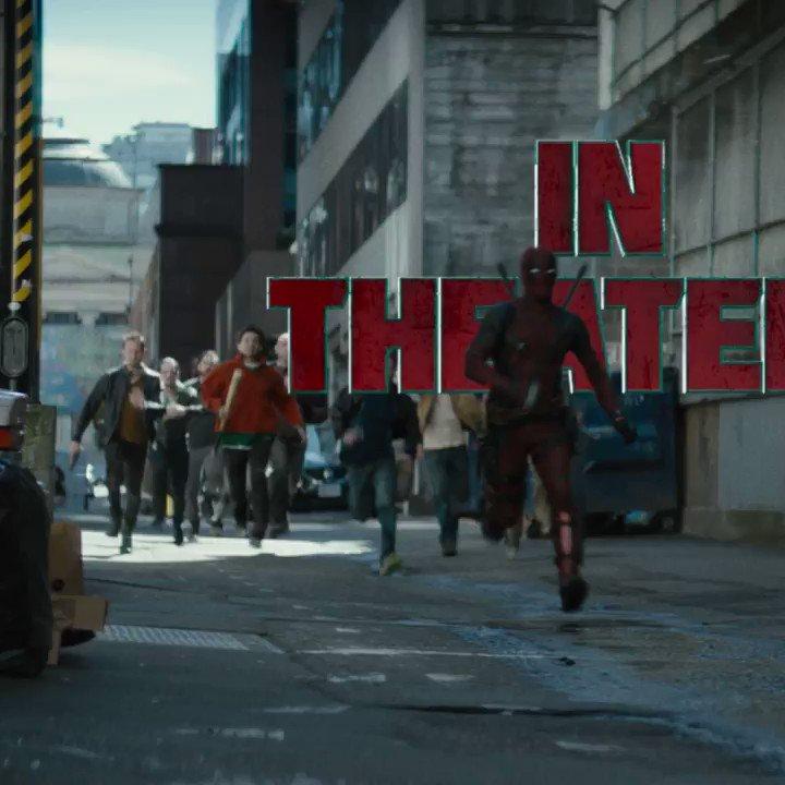 RUN. Don't walk. #Deadpool2 is in theaters tonight. Get tickets now at https://t.co/Q7XP5H3B9I https://t.co/QE8HiAxJnj