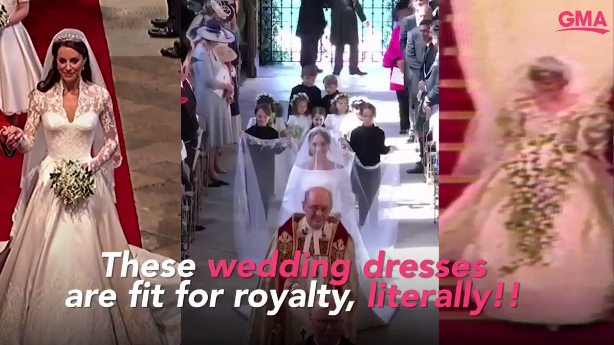 These royal wedding dresses changed fashion history! Will Meghan Markles custom Givenchy gown influence this years bridal style? gma.abc/2Lf8ZKL #RoyalWedding
