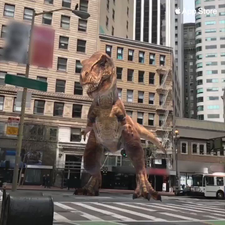 Yep, that's a giant T-Rex in the middle of the street 🦖Jurassic World™ Alive, coming soon!