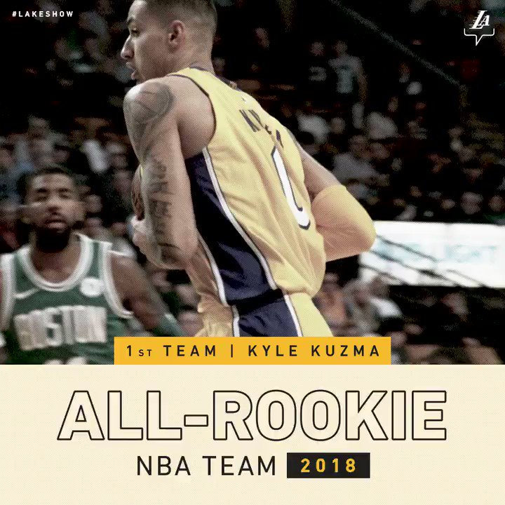 Congrats @kylekuzma on being named to the NBA's All-Rookie First Team  ��: https://t.co/KruB8H24lL https://t.co/WVYbsSl2PP