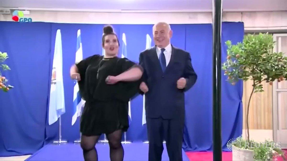 Israel Prime Minister Benjamin Netanyahu and Eurovision winner do chicken dance duet https://t.co/1I33Qxlop1 https://t.co/S34gcMy6Gk