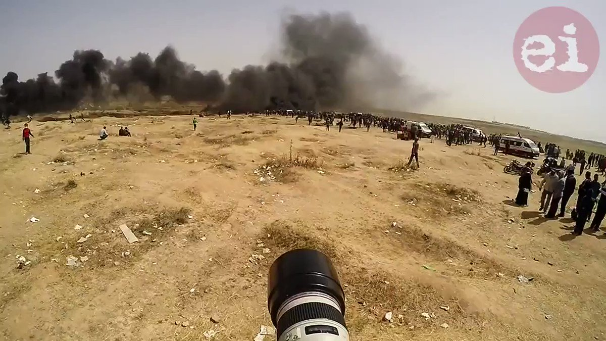Watch @Intifadas video Israel targets journalists in Gaza: I was wearing a helmet and a vest clearly marked with the word press. I was shocked that the occupation fired directly and deliberately at me. #greatreturnmarch