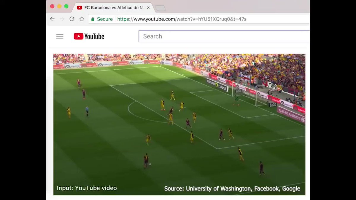 Just in time for the World Cup! Watch how researchers from Google, Facebook, and @UW are using @NVIDIA #GPUs to transform a standard YouTube video of a soccer game into a moving 3D hologram. #CVPR2018 nvda.ws/2JB8Jrh