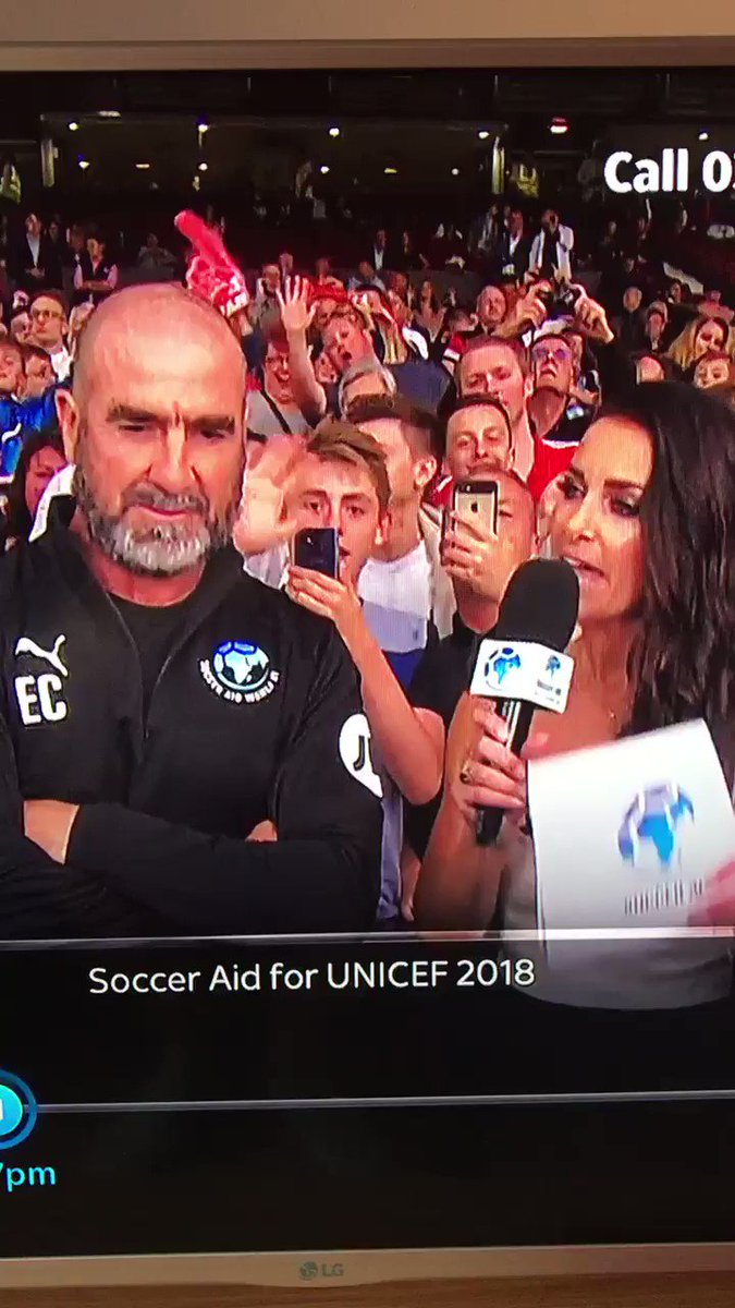 """Cantona at Soccer Aid last year 😂  """"Get on the pitch? I jumped in the stand to kick a hooligan."""""""