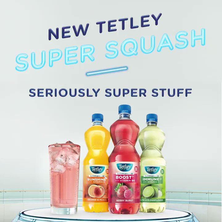 Introducing our new Tetley Super Squash – it's delicious squash with added vitamins to keep you feeling super throughout the day!