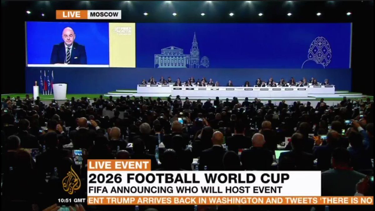 BREAKING: FIFA selects US, Mexico and Canada to host the 2026 football #WorldCup https://t.co/2MrmtnxaZH https://t.co/Gg89fnZVf9