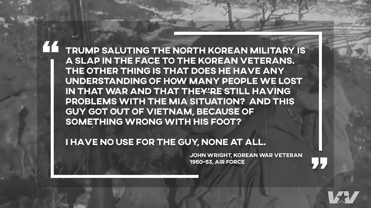 Korean War Veteran John Wright was one of the last troops to retreat from Pyongyang, when the Chinese took it from UN/US forces. He says Trump saluting the North Korean military is a slap in the face to all Korean War veterans.