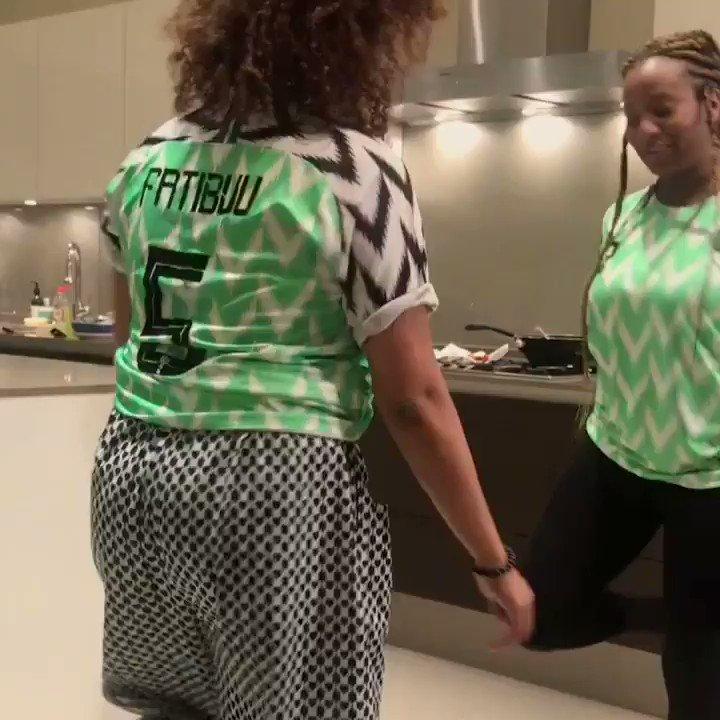 Naija #WorldCup fever! ⚽️🇳🇬🦅🏆 Teaching Mama Cups how to Shaku Shaku! #IssaGoal #SuperEagles