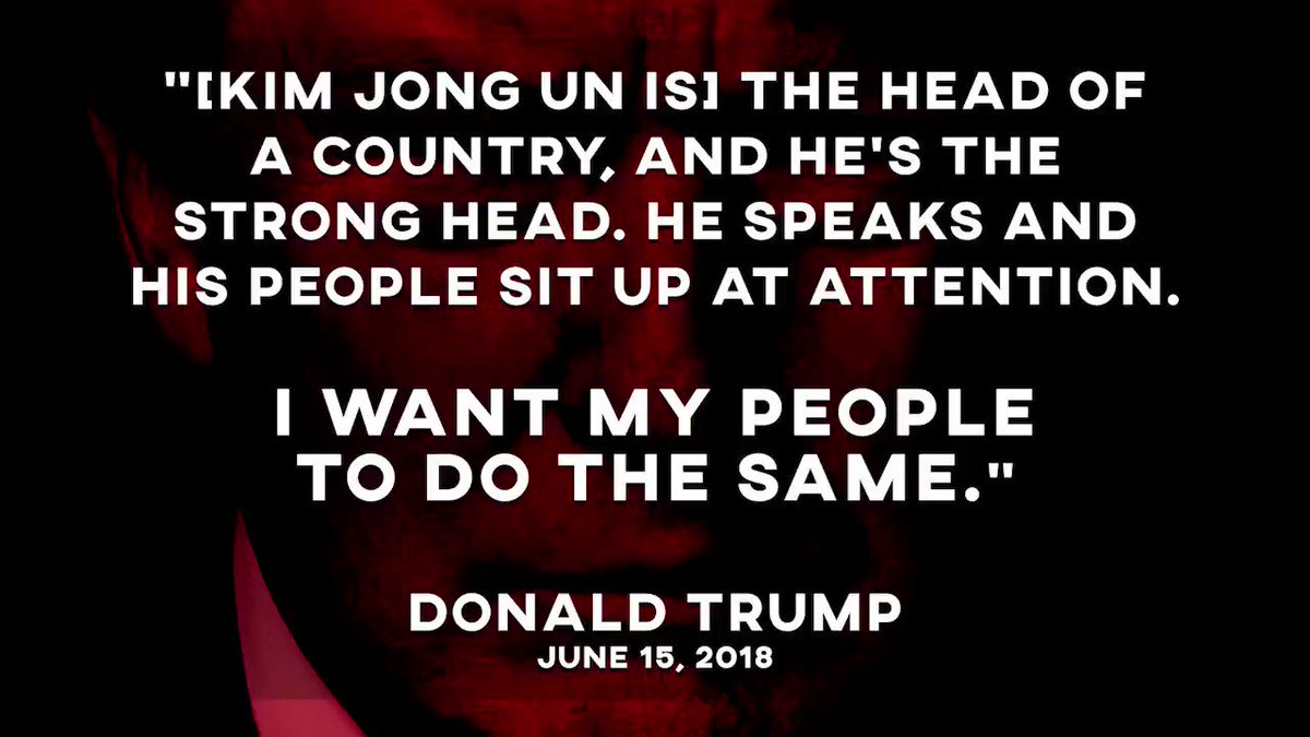 This morning, on @foxandfriends, #DearLeaderTrump spoke wistfully about how he wished Americans would treat him like North Koreans treat Kim Jong Un -- and sit up at attention when Trump speaks. #CadetBoneSpurs #CheetoBenito #CommanderOfCheese #DictatorTrump