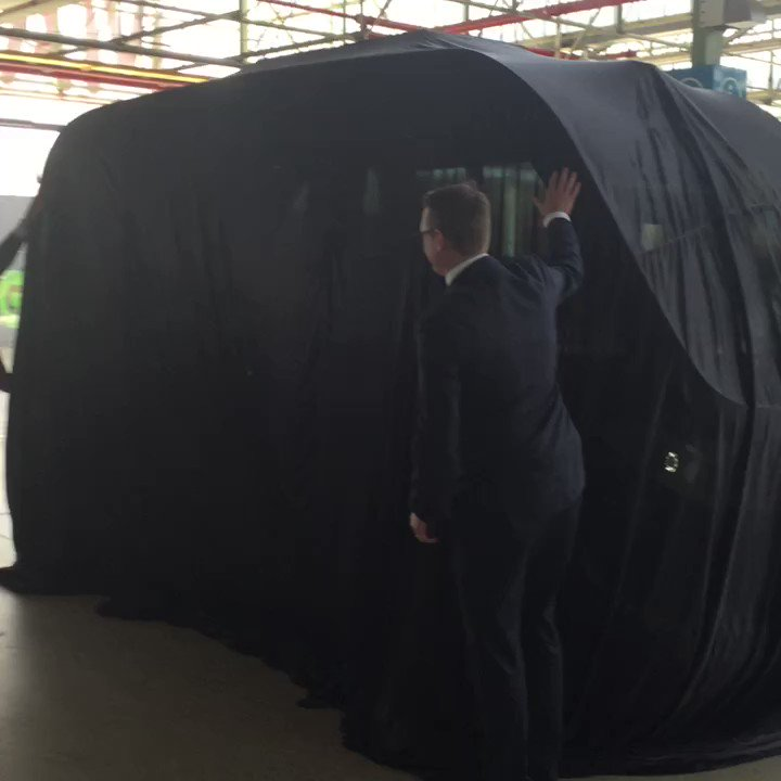 Image for the Tweet beginning: Unveiling first driverless shuttle for