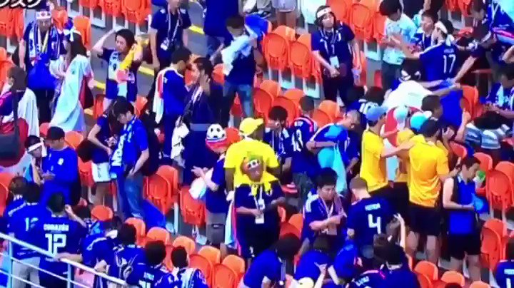 Japan's Soccer Fans Clean Up After World Cup and Inspire Other Countries' Fans to Do the Same