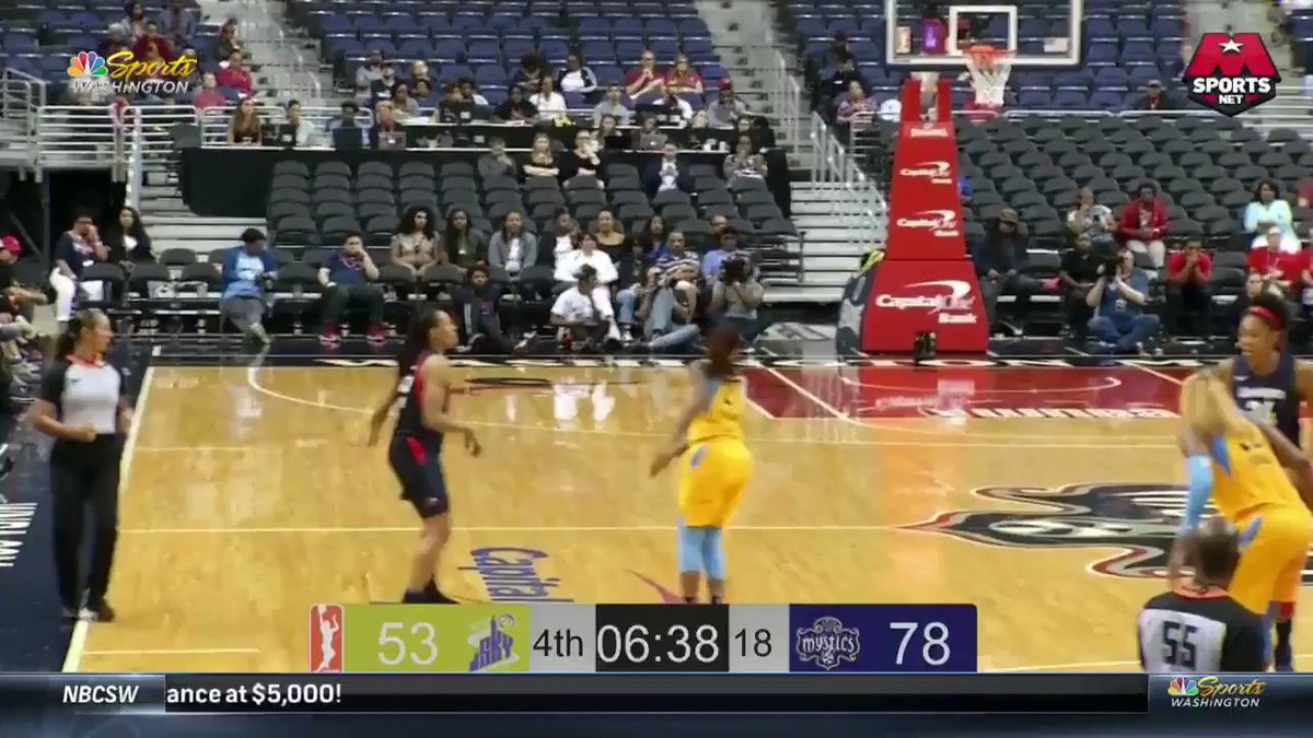 Tayler Hill isnt wasting anytime! A 3️⃣ for her first points back! #MysticsSky #WNBAVote