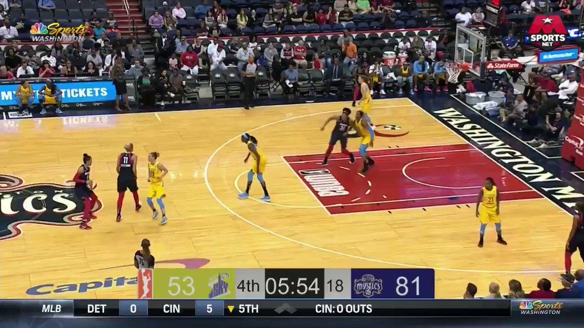 That rip through was tough 💪 @K_Thomas34 lays it in! #MysticsSky #WNBAVote