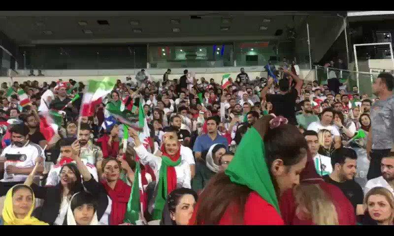 UNPRECEDENTED: Iranian women at Azadi stadium to watch (televised) #IRNESP at #worldcup