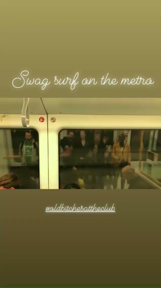 Beyoncé's dancers swag surfin' on the metro in Copenhagen. 💖 #OTRII