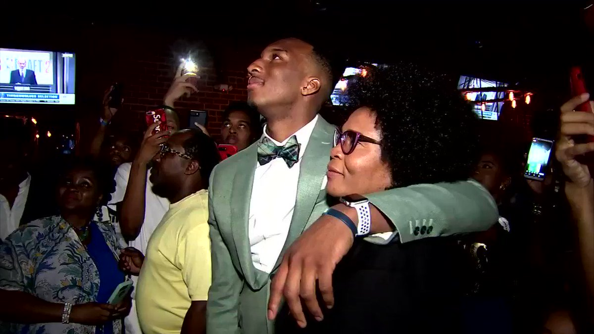 .@wsbtv exclusive.. former @GTMBB standout Josh Okogie (@CallMe_NonStop) gets emotional after hearing the @Timberwolves draft him with the 20th overall pick