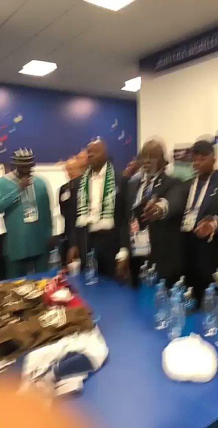 "VIDEO: ""The Magical Presence of Senate President Dr. Abubakar Bukola Saraki brought luck to the @NGSuperEagles and Nigeria.- Amaju Pinnick #WorldCup #NGAISL #SoarSuperEagles #SarakiInRussia"