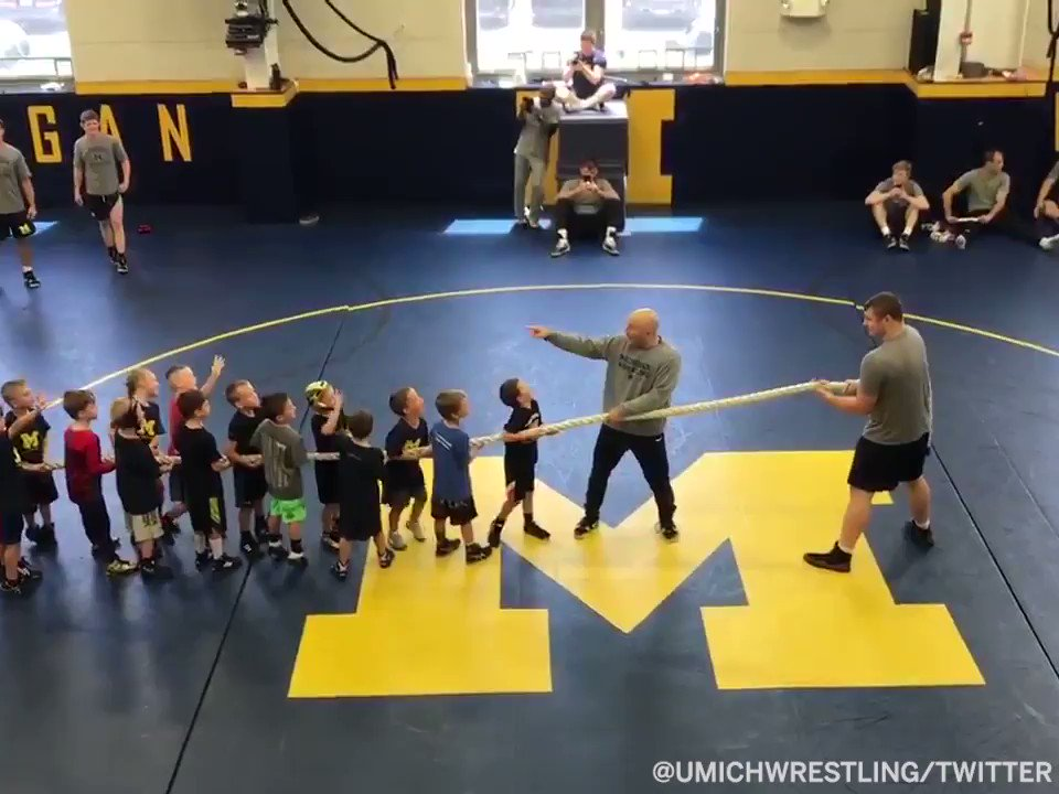 50 kids vs. a Michigan wrestler It was a landslide victory 🙃 (via @umichwrestling)