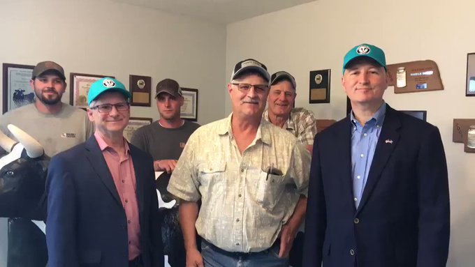 Nebraska Governor Ricketts and Department of Ag Director Wellman at Thiele Dairy near Clearwater Nebraska