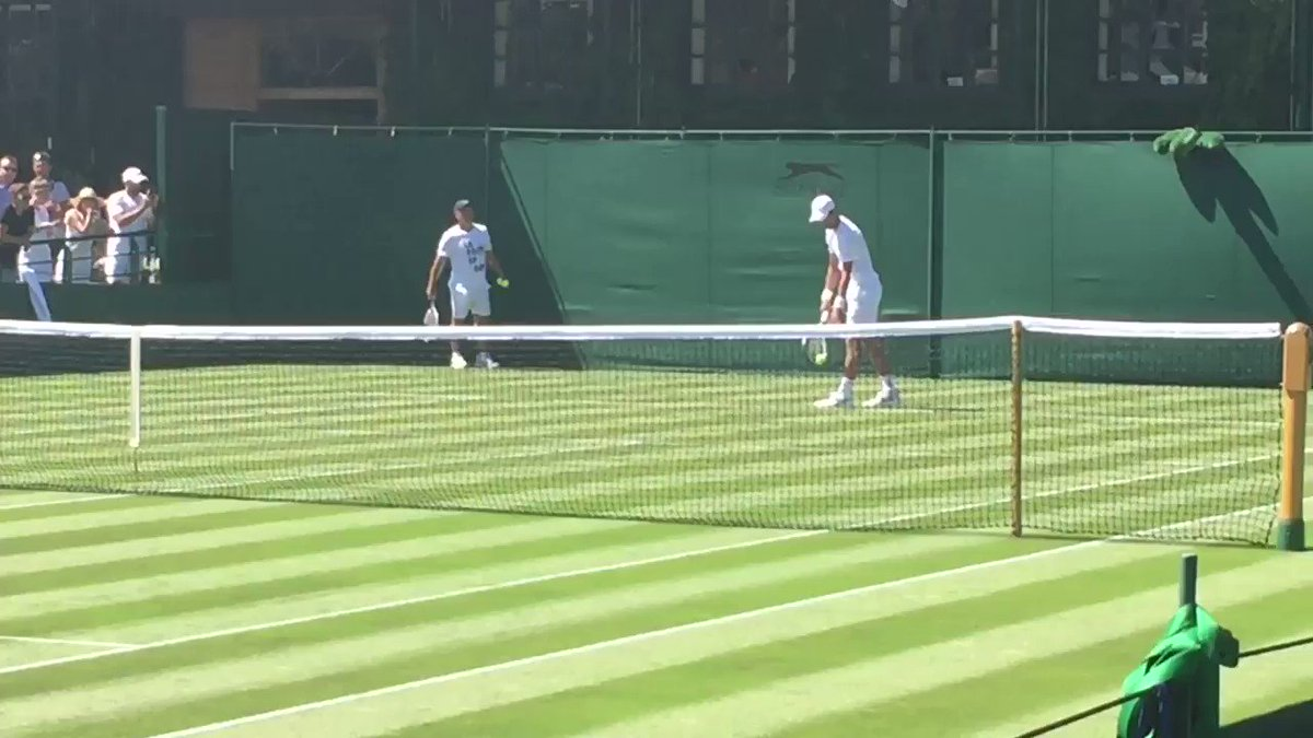 Just a couple of guys out for a casual Saturday hit... only these 2 guys are @DjokerNole and @David__Goffin ...