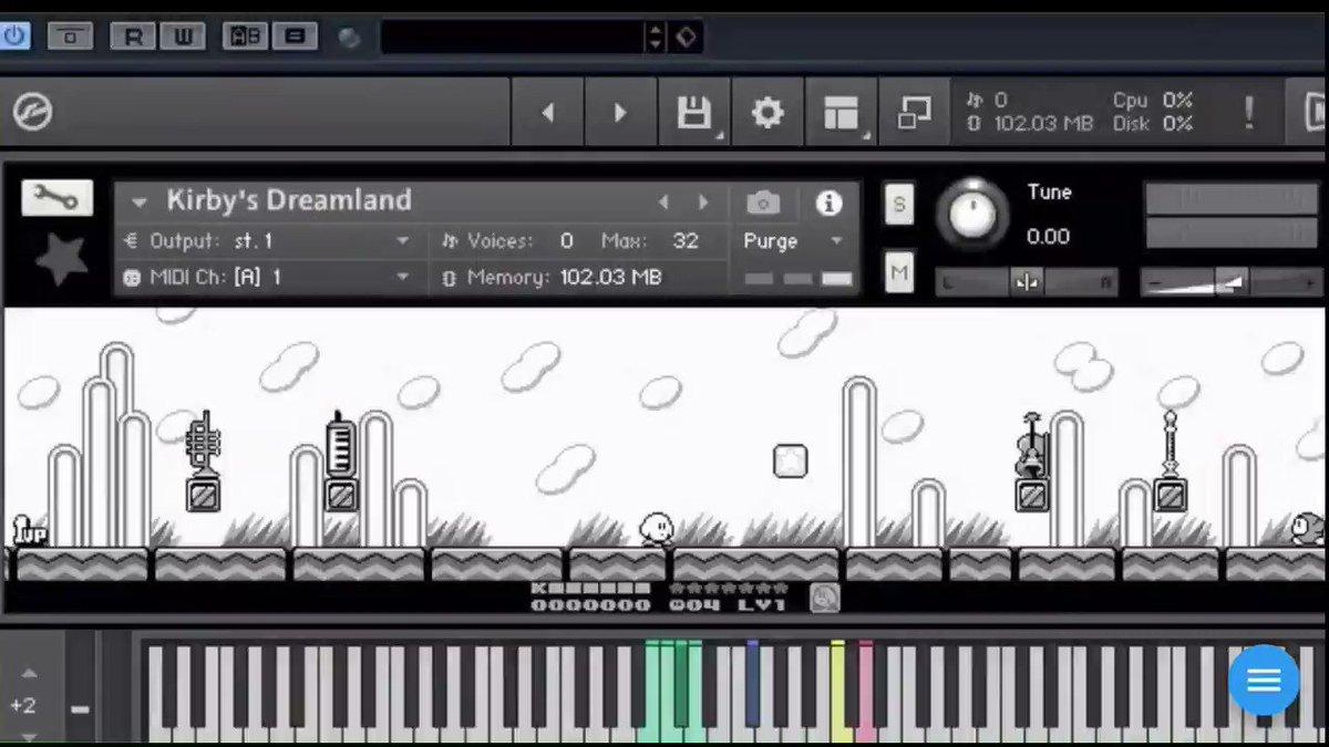 ゲーム感覚で音楽制作ができるように音源のインターフェイスを星のカービィにして吸い込んだ楽器を演奏できるようにした