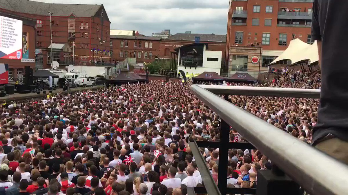This was the moment at Castlefield Bowl when Kieran Trippier put England 1-0 up. Scenes https://t.co/E9mUEL1lkm